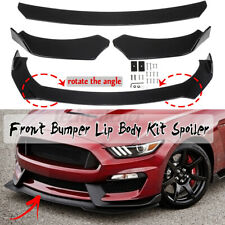 3x Glossy Black Front Bumper Lip Spoiler Chin Splitters For Ford Mustang Focus