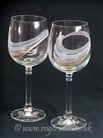 """Art Glass  A Pair Of Wine Glasses   Approx  7"""" Tall"""