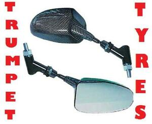 PAIR MOTORCYCLE CARBON LOOK STALKER BOLT FITMENT UNIVERSAL REARVIEW MIRRORS