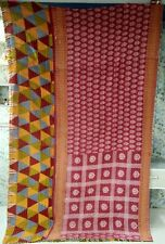 Indian Handmade Red Multicolor Vintage Kantha Quilt Bohemian Bedding Quilt Throw