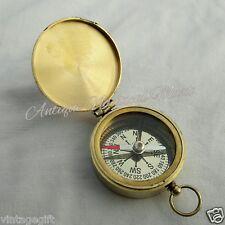 Antique Brass Flat Compass Vintage Desktop Decorative Item