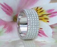 5.5ct Round Cut Diamond Flat Wide Full Eternity Wedding Band 14K White Gold Over