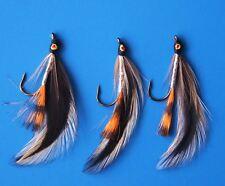 3 Pcs Saltwater Brown orange streamer Lure 6# Fly Fishing w/ Free Box D269
