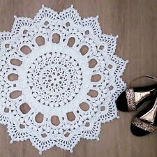 Crochet WHITE Handmade Doily Round Rug Carpet 60 cm 24 inch Vintage Look
