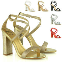 Womens Strappy High Heel Sandals Block Ladies Open Toe Party Shoes Size 3-8