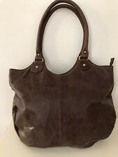 BROWN 100% PURE SMOOTH LEATHER LARGE BRASS TRIM TOTE/SHOULDER/BAG