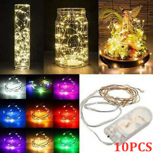 10Pcs LED Battery Micro Rice Wire Copper Fairy String Lights Party Multicolor