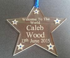 New baby personalised engraved acrylic star keepsake gift