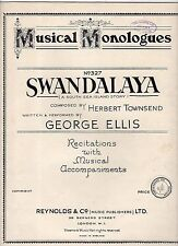 Rare1927 MUSICAL MONOLOGUE 12-page Sheet Music Book SUIT PERFORMER!! VGC+