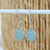 Natural Aquamarine 925 Sterling Silver Oval Lever Back Drop Earrings Jewellery