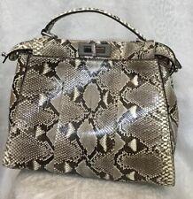 fendi handbag Python Peekaboo Monster Inside Black & Gray Removable Strap Med
