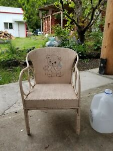 Antique Music Box seat Child's Chair Rattan Bentwood Wicker painted Teddy Bear.