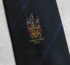 STOKE ON TRENT RUFC RUGBY UNION FOOTBALL CLUB TIE NAVY 1990s VINTAGE RETRO