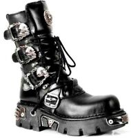 NEWROCK New Rock 391 S1 Black Metallic Reactor Goth Biker Unisex Negro Boots