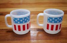 Pair Vintage 70s Stars & Stripes Milk Glass American Flag Patriotic Coffee Mugs