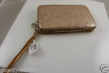 fits Iphone 4  smart phone Id holder gold glitter bling wallet wristlet xmas