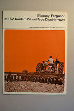 Massey Ferguson Brochure  -  MF52 Tandem Wheel Type Disc Harrows  -  1965