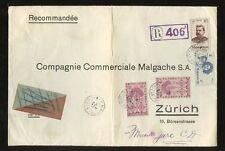 MADAGASCAR 1948 REGISTERED LIBRE + PICTORIALS FRANKING LARGE ENVELOPE to ZURICH