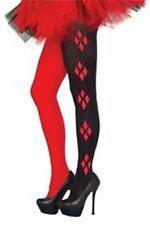 DC Comics Licensed HARLEY QUINN Black Red LeG TIGHTS Harlequin COSTUME Prop o/s