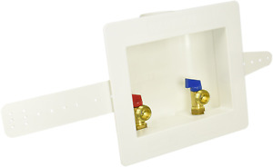"""Eastman 60248 Washing Machine Outlet Box with Center Drain 1/2"""" Sweat White"""
