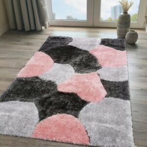 Blush Pink Shaggy Rug Soft Non Shed Polyester Living Room Rugs Grey Bedroom Rugs