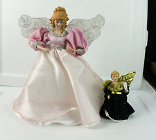 """Lot of Christmas Decorations Tree Toppers Small & Large Angels In Dresses 12"""" 6"""""""