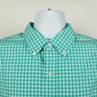 Jos A Bank Traveler Mens Seafoam Green Gingham Check Dress Button Shirt Size XL
