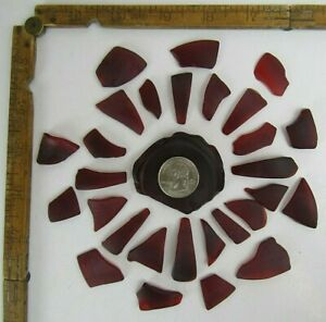Red Tumbled Sea Glass - Arts Crafts Jewerly Collectibles J