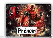 Plaque de porte en ( sur ) bois Deadpool avec prénom   N° 128