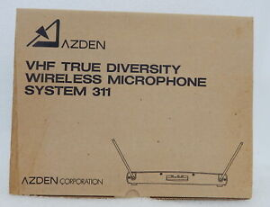 NEW Azden VHF True Diversity Wireless Microphone Receiver System 311 31HT Mic