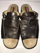 Women's ARIAT Espresso Brown Leather Slide Sandals Western Belmont Size 9
