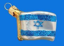 FLAG ISRAEL INTERNATIONAL EUROPEAN BLOWN GLASS CHRISTMAS TREE ORNAMENT