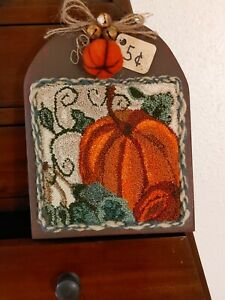 Primitive punch needle Pumpkin hornbook farmhouse cupboard tuck folk country