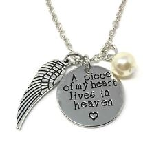 925 Silver Plt 'A Piece Of My Heart Lives In Heaven' Loss Engraved Necklace A