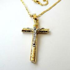 MEN'S WOMEN'S Gold Silver Filled Jesus Christ Crucifix Cross Chain Necklace 8 B