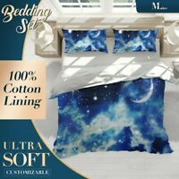 Flickering Stars Clouds Fantasy Blue Quilt Cover Set with Zipper And Pillowcase