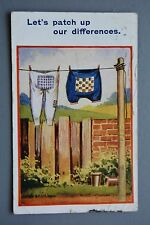 R&L Postcard: Comic, Worn Out Patched Clothes on Washing Line