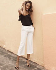 """NWOT Express Womens Ivory Flat Front Flare Culottes Cropped Pants Sz 8  23"""" Ins"""
