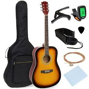Starter Kit Acoustic Guitar 41 Inch With Digital Tuner Padded Case Picks Strap