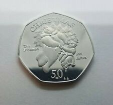 50p 2003 James Snowman isle Of Man Christmas Coin  with die marks (please read)