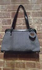 Black White Small-Medium Herringbone Satchel Purse & Mirror Key Chain HiddenJuel