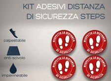 """Kit 4 adesivi calpestabili, """"Distanza sicurezza"""" cv19 aspetta qui pavimento"""