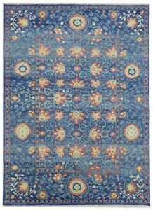 """Hand Knotted Blue Wool Tribal New Oushak Oriental Rug Carpet 8'10"""" x 12'"""
