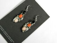 Vintage Earrings Southwestern Stone Handcrafted Solid 925 Sterling Silver Onyx
