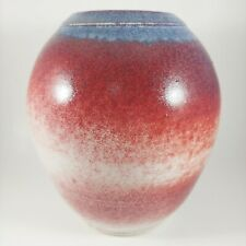 "HANDMADE Signed 7"" Art Pottery Vase, Colorful Red White Blue, KERRIANNE FLETT"