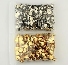 100 LOW PROFILE Locking Pin Backs/Pin Keepers-50 Silver 50 Gold each-NoTools