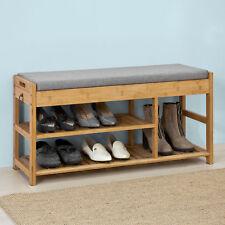 SoBuy® Schuhbank mit Sitzkissen Sitzbank Schuhschrank Schuhregal,bambus,FSR47-N