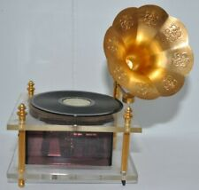 Vintage Music Box That Looks Like A Victrola With A French Horn