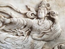 """27.5"""" ANTIQUE MARBLE ANGEL ABOVE CLOUDS WALL STATUE/PLATE"""