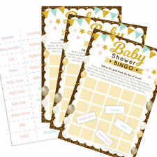 Baby Shower Game - Boy Girl Unisex - 20 Players Gold - Baby Bingo Party Game